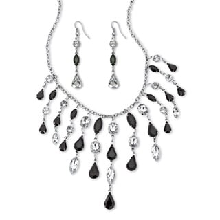 PalmBeach Gold Overlay Black and White Multi-shaped Lucite Necklace and Earrings Set
