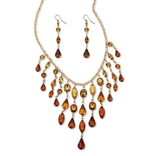 PalmBeach Goldtone Overlay Butterscotch Lucite Multi-shaped Necklace and Drop Earrings Set