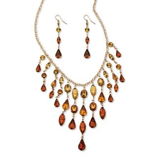 Goldtone Overlay Butterscotch Lucite Multi-shaped Necklace and Drop Earrings Set