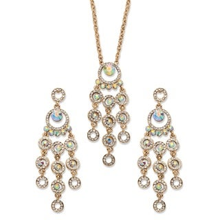 Goldtone Overlay Aurora Borealis Crystal Chandelier Halo Necklace and Earrings Set