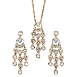 PalmBeach Goldtone Overlay Aurora Borealis Crystal Chandelier Halo Necklace and Earrings Set