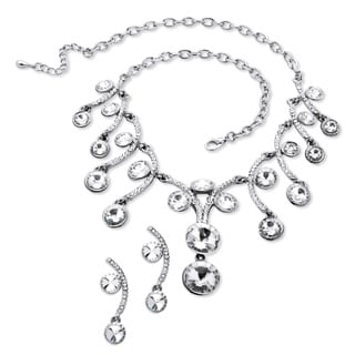 PalmBeach Round Crystal Scroll Necklace and Earrings Set in Silvertone Bold Fashion