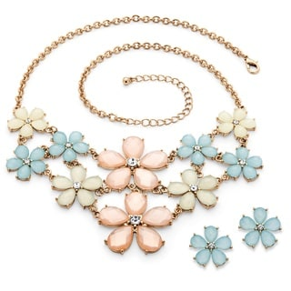 PalmBeach Goldtone Overlay Checkerboard-cut Pastel Lucite and Crystal Flower Necklace and Earrings Set