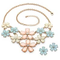 Goldtone Overlay Checkerboard-cut Pastel Lucite and Crystal Flower Necklace and Earrings S