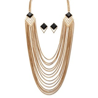 Black Crystal Art Deco-Inspired Multi-Strand Waterfall Necklace and Earrings Set in Gold T