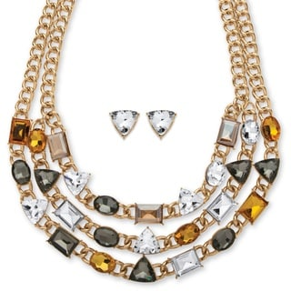 Multicolor Glass Triple-Strand Geometric Necklace and Earrings Set in Gold Tone Bold Fashi