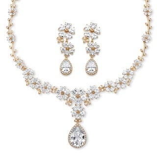 PalmBeach 14k Goldtone Overlay 56 5/8ct TGW Pear-Drop Cubic Zirconia Flower Motif Halo Necklace and Earrings Set