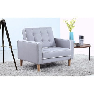 Mid Century Modern Two-Tone Tufted Fabric Living Room Armchair