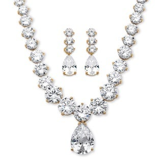 14k Gold Overlay 79 2/5ct TGW Pear-drop and Round Cubic Zirconia Necklace and Earrings Set