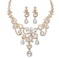 Goldtone Overlay Pear and Marquise-cut White Crystal Scroll Necklace and Earrings Set
