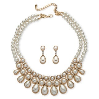 Goldtone Overlay Round and Pear-cut Simulated Pearl Cabochon 2-piece Necklace and Earrings