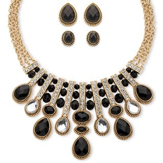 Goldtone Overlay Pear and Oval-cut Black and White Crystal 3-piece Halo Necklace and Earri
