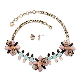 PalmBeach Goldtone Overlay Multicolor Crystal Vintage Floral Motif 2-piece Necklace and Earrings Set