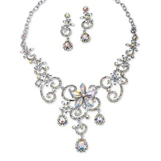 PalmBeach Platinum Swirl and Flower Aurora Borealis Crystal Necklace and Drop Earrings Set