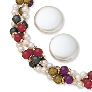 """PalmBeach Simulated Pearl and Multicolor Bead Necklace and Earrings Two-Piece Set in Gold Tone 22"""" Naturalist"""