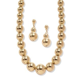 18-inch Gold Overlay Graduated Beaded Necklace and Drop Earrings Set