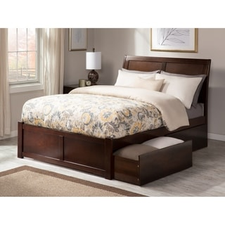 Portland Walnut Brown Wood King-sized Flat-panel Platform Bed with Drawers