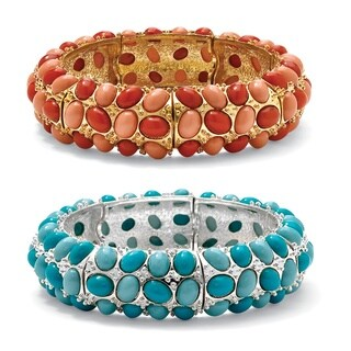 """PalmBeach Simulated Red Coral Yellow Gold Tone and Simulated Blue Turquoise Silvertone Stretch Bracelet 9"""" Bold Fashion"""