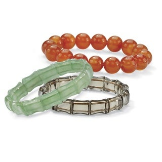 "Multicolor Agate and Genuine Chalcedony Three-Piece Stretch Bracelet Set 7"" Naturalist"