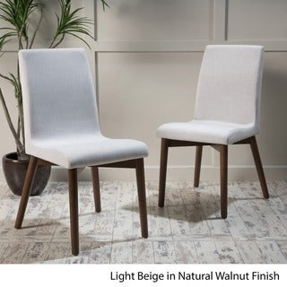 Orrin Mid-Century Fabric Dining Chair (Set of 2) by Christopher Knight Home (Walnut Finish - Walnut)