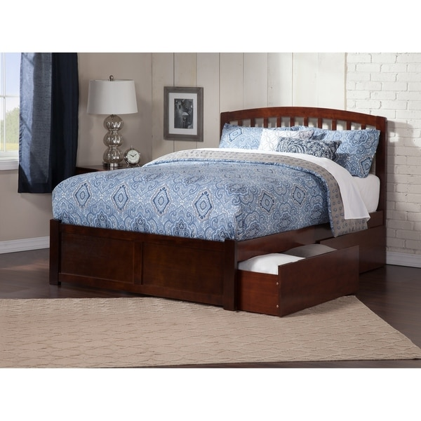Richmond Queen Platform Bed with Flat Panel Foot Board and 2 Urban Bed Drawers in Walnut