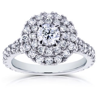 Annello by Kobelli 14k White Gold 1 3/4ct TDW Round Diamond Double Halo Cluster Cathedral Ring