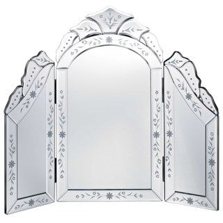 Venetian Glass Tri Fold Dressing Table Mirror