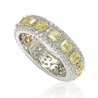 Suzy Levian Sterling Silver Cubic Zirconia Yellow and White Modern Eternity Band