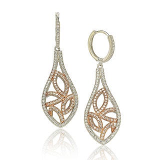 Suzy Levian Two-Tone Sterling Silver White Cubic Zirconia Floral Drop Earrings