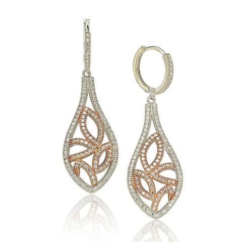 Suzy L. Two-Tone Sterling Silver White Cubic Zirconia Floral Drop Earrings - Pink
