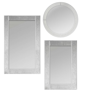 Glitter Ascot Clear Glass Assorted Mirror Collection (Set of 3)