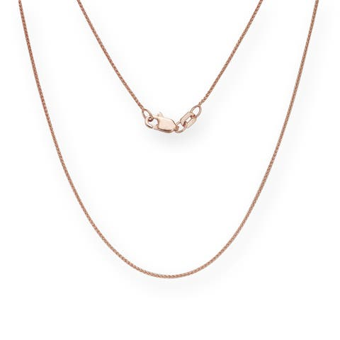 10K Rose Gold Lobster Clasp Classic Box Chain - Pink