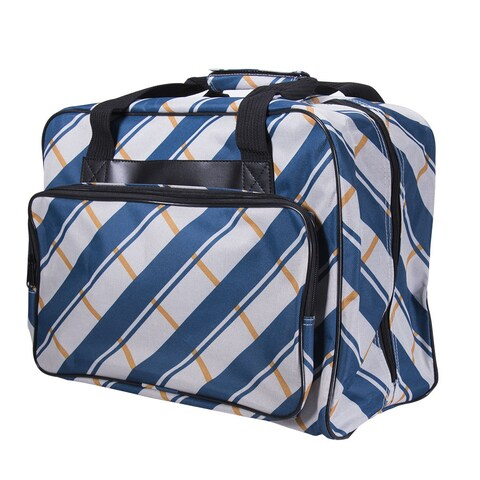 Janome Blue Canvas Plaid Universal Sewing Machine Tote Bag