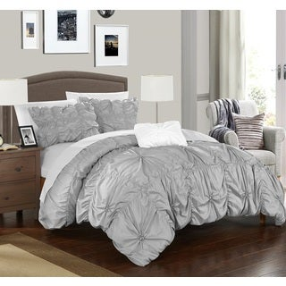 Chic Home 4-Piece Benedict Silver Duvet Cover Set