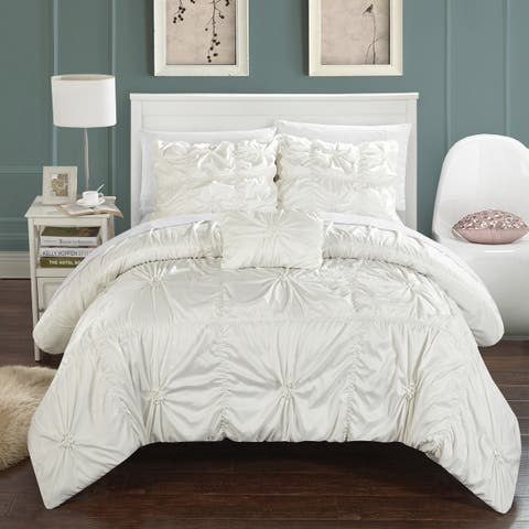 Silver Orchid Terry 4-piece White Duvet Cover Set