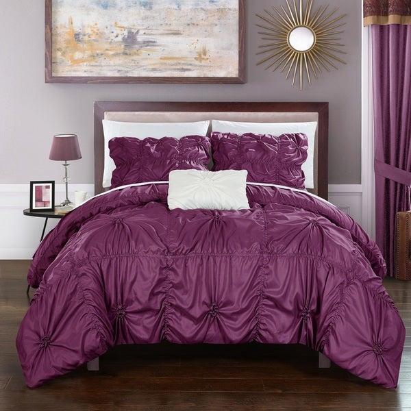 Chic Home 4-Piece Benedict Purple Duvet Cover Set