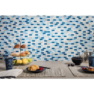Tides Blue/Beige Glass Mosaic Tiles