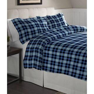 Pointehaven Ashby Plaid Cotton Flannel Oversized Duvet Set (3 options available)