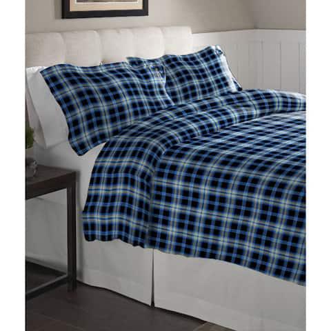 Pointehaven Ashby Plaid Cotton Flannel Oversized Duvet Set - Multi-color