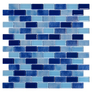 Tides Glossy Blue Glass Mosaic Tiles