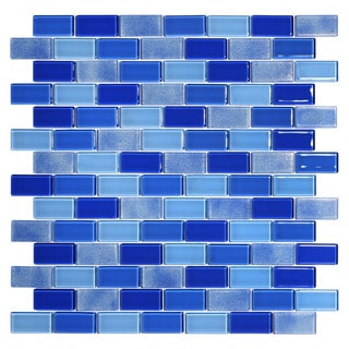 Tides Blue Glass Glossy Mosaic Tiles (Pack of 5)
