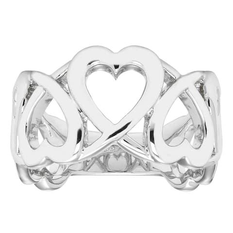 Boston Bay Diamonds 925 Sterling Silver Linked Heart Band Ring