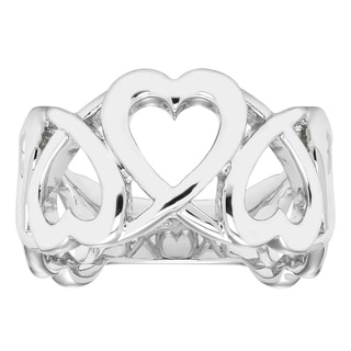 Boston Bay Diamonds 0.925 Sterling Silver Linked Heart Band Ring