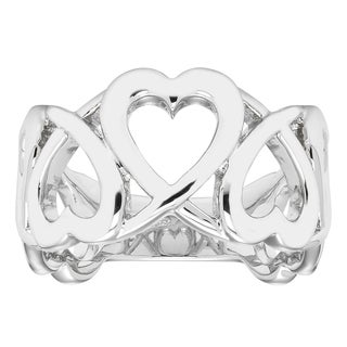 Boston Bay Diamonds 925 Sterling Silver Linked Heart Band Ring (5 options available)