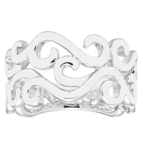Boston Bay Diamonds 925 Sterling Silver Open Scroll Band Ring