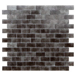 Quartz Grey Glass Mosaic Indoor Wall Tiles (Pack of 5)