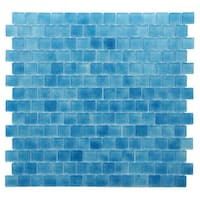 Quartz Blue Glass Mosaic Tile (Pack of 5)