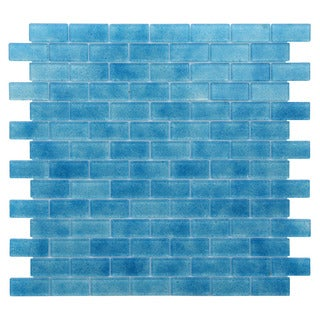 Quartz Blue Glass Mosaic-style Indoor Wall Tile (Pack of 5)