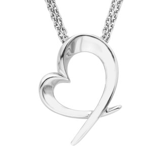 Boston Bay Diamonds 925 Sterling Silver Open Heart Drop Pendant Necklace, 17""