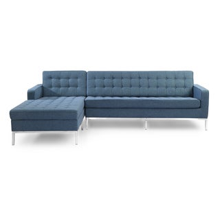 Kardiel Florence Knoll Style Premium Fabric Upholstered Left-facing Sofa Sectional
